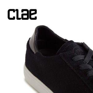 CLAE {13} Black Sneakers Bradley Wool Patent Leather NWT